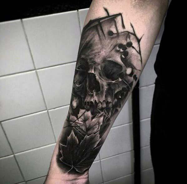Skull Leaves Mens Nice Forearm Shaded Tattoo Designs