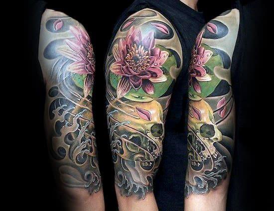 Skull Lotus Flower Tattoo On Man With Half Sleeve Design