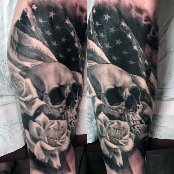 Skull Male American Flag Tattoos Military