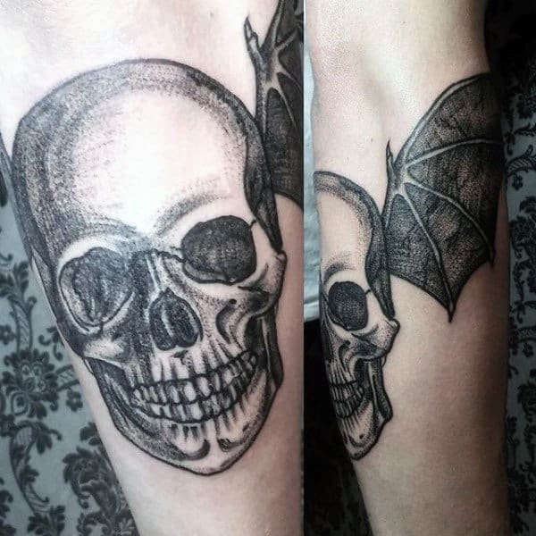 Skull Male Bat Wing Tattoo Designs