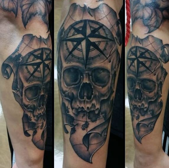 Skull Map With Nautical Star Mens Travel Forearm Tattoo