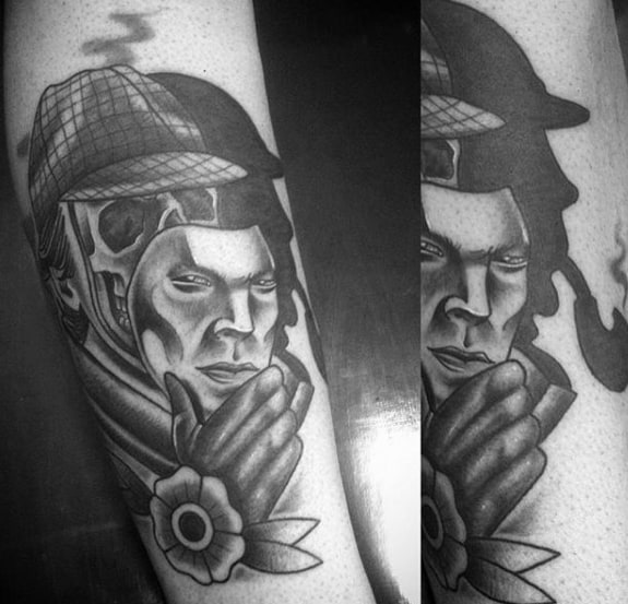 Skull Mask Sherlock Holmes Mens Tattoo Designs On Forearm