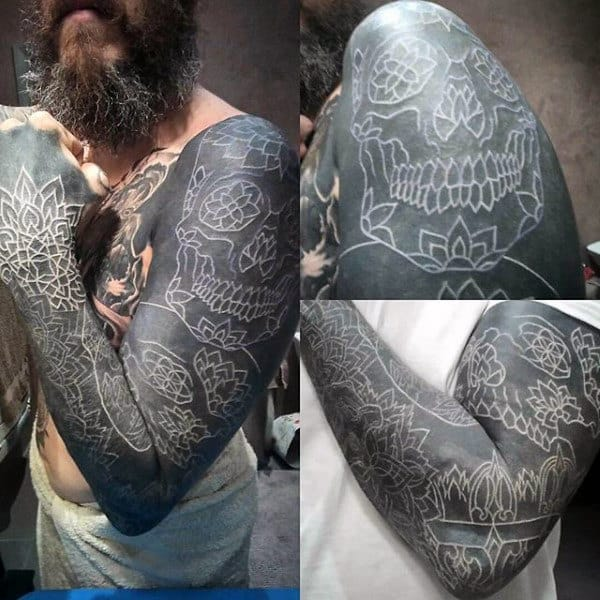 Skull Mens Full Arm Sleeve Tattoo With White Ink