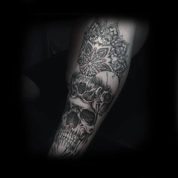 Skull Mens Geometric Shin Tattoo Design Inspiration