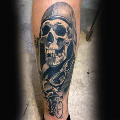 Skull Mens Leg Biker Tattoo Idea Inspiration