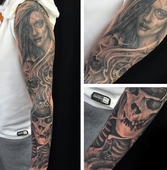 Skull Mens Tattoos Sleeves With Portrait Of Woman