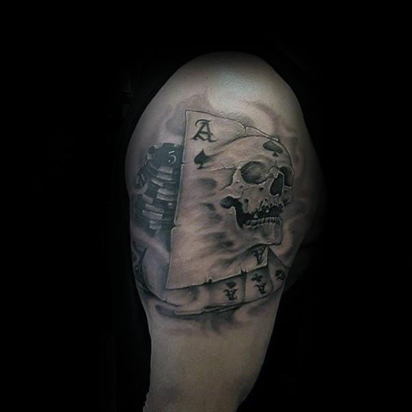 Skull Mens Upper Arm Playing Card Tattoo Inspiration