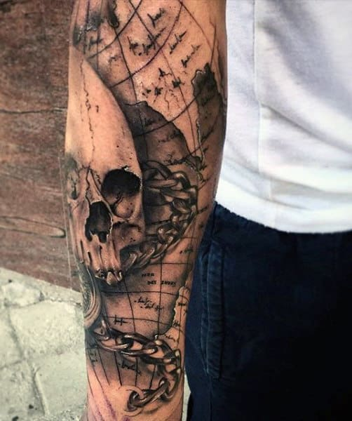 50 world map tattoo designs for men adventure the globe skull mens world map tattoos gumiabroncs Gallery