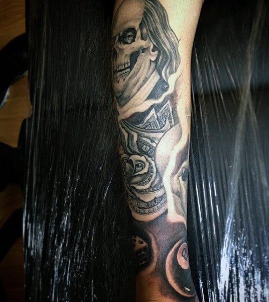 Skull Money Tattoo Designs For Men