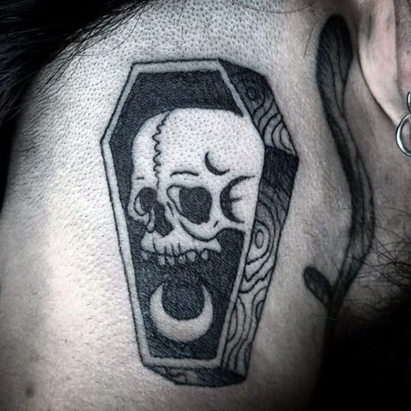 Skull Moon Neck Tattoo Of Coffin For Men