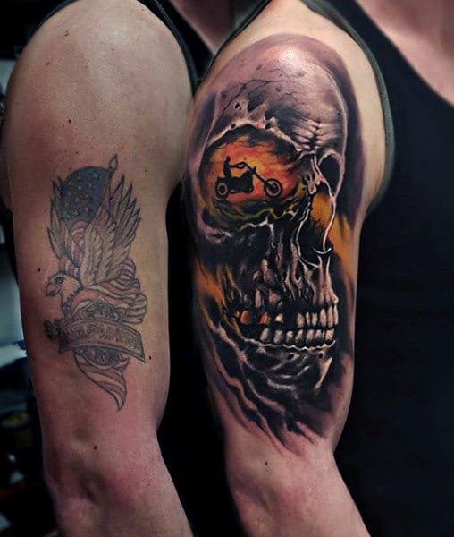 Skull Motorcycle Rider Harley Davidson Arm Tattoos For Guys