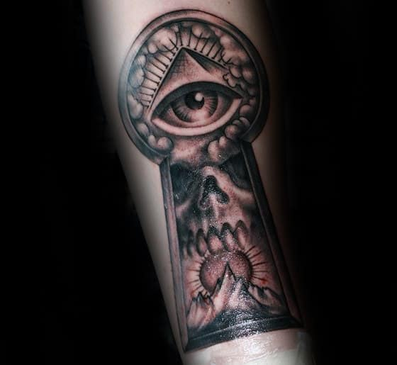 Skull Mountains Guys All Seeing Eye Keyhole Tattoo