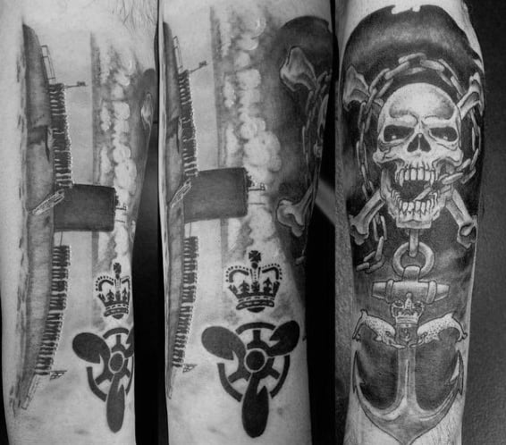 Skull Navy Anchor Guys Tattoos