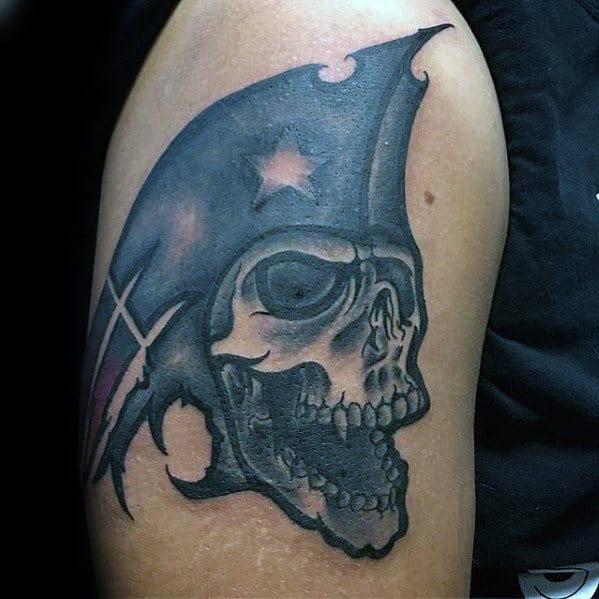 Skull New England Patriots Guys Arm Tattoo