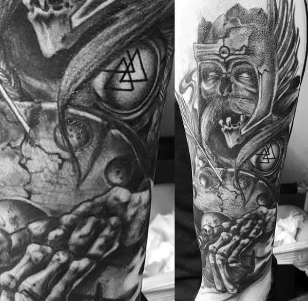 Skull Odin Mens Arm Tattoo Designs
