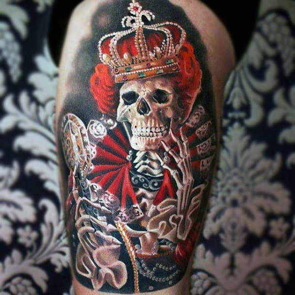 Skull Of A Haughty Queen With Pearl Crown Tattoo On Arms For Men