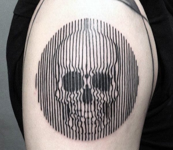 Skull Optical Illusion Linework Circle Arm Tattoo