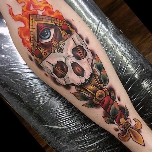 Skull Orange Blast Illuminati Tattoo For Males Forearms