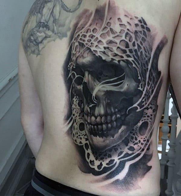 Skull Ornate Guys Badass Back Tattoo Designs