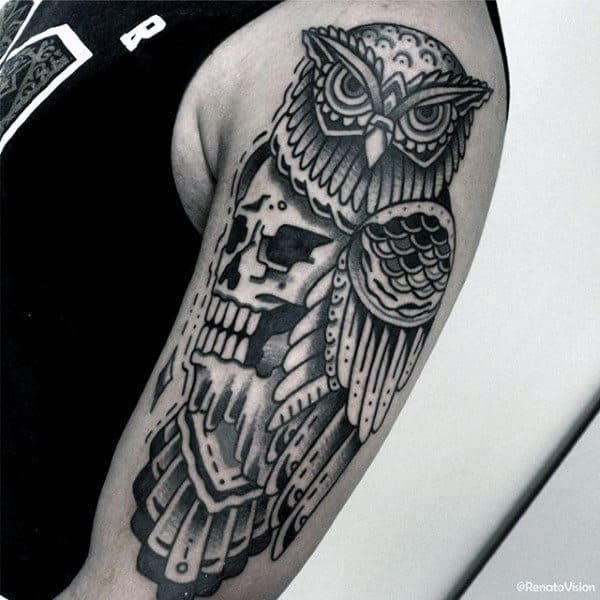 Skull Owl Male Traditional Arm Tattoo Design Ideas