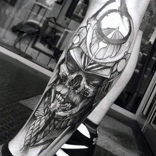 skull-paint-brush-stroke-samurai-helmet-mens-leg-tattoos