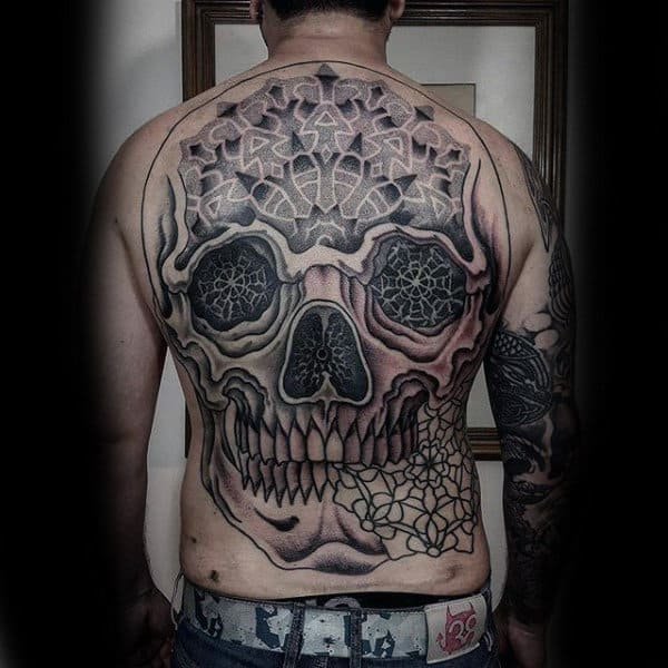 Skull Pattern Tattoo Male Full Back