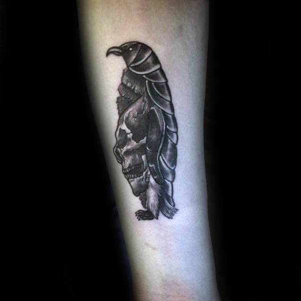 Skull Penguin Mens Dark Shaded Forearm Tattoos