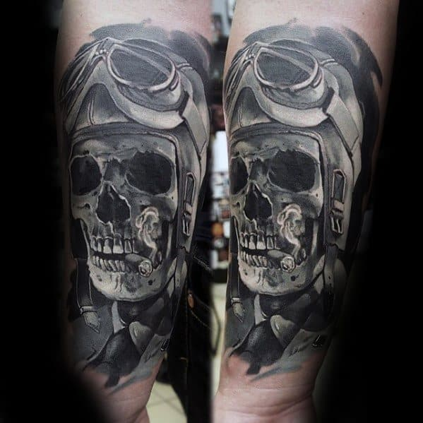 Skull Pilot Goggles Epic Tattoo Ideas For Males