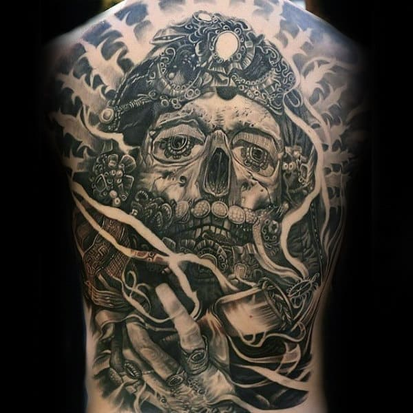Skull Pirate Black Ink Male Full Back Tattoos