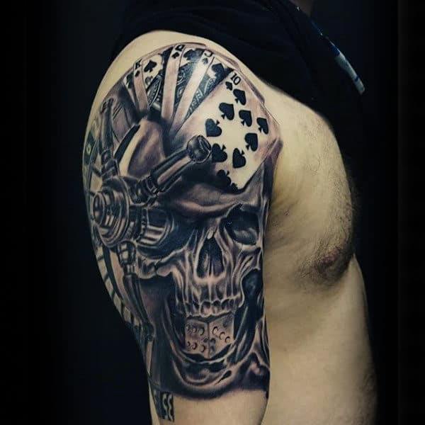 Skull Playing Card Shaded Black And Grey Male Tattoo Ideas