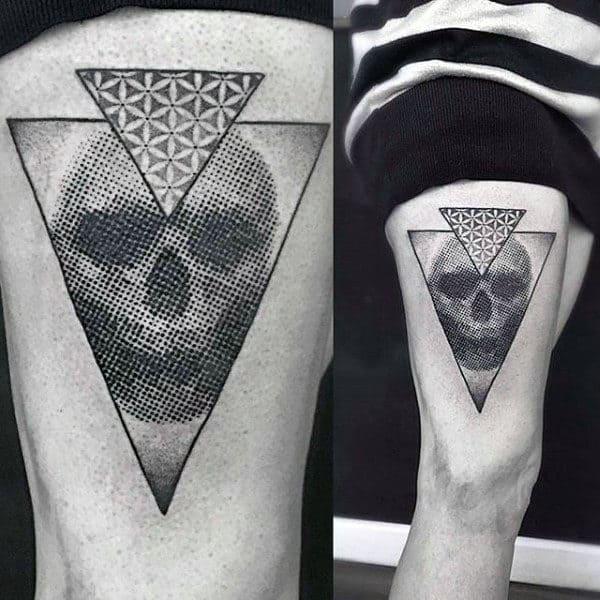 Skull Pointillism Mens Thigh Tattoos