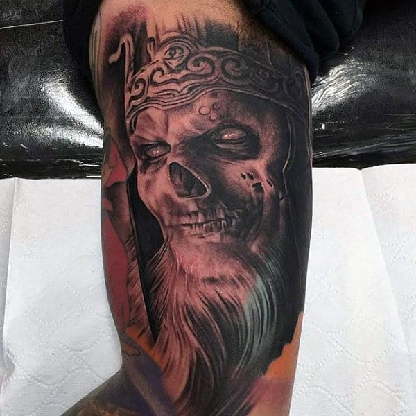 Skull Portrait Inner Arm Male Tattoo