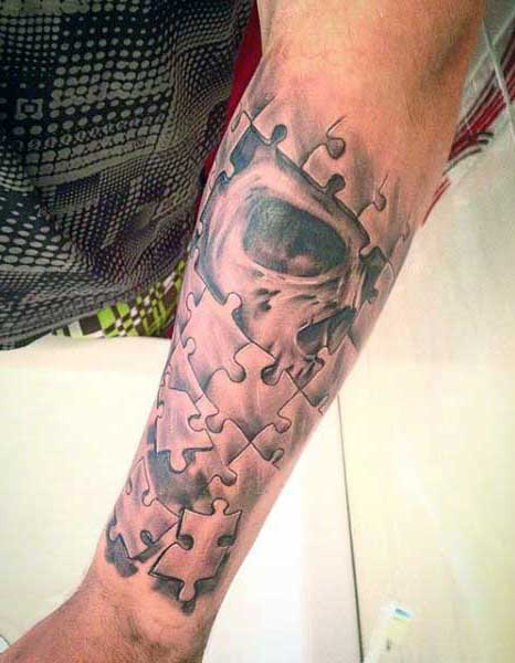 Skull Puzzle Piece Forearm Mens Tattoos