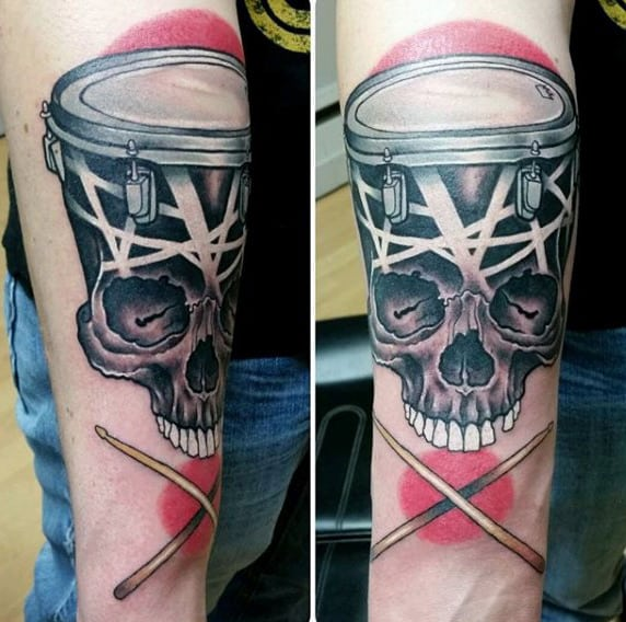 Skull Red And Black Ink Male Drum Tattoo Designs On Inner Forearm