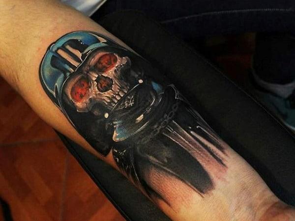 Skull Red Eye Darth Vader Tattoo Mens Forearms