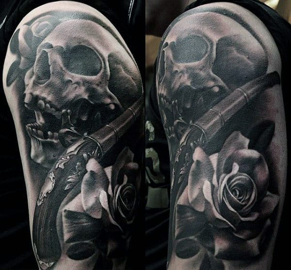 Skull Revolver Rose Black And Grey Tattoo Male Upperarms