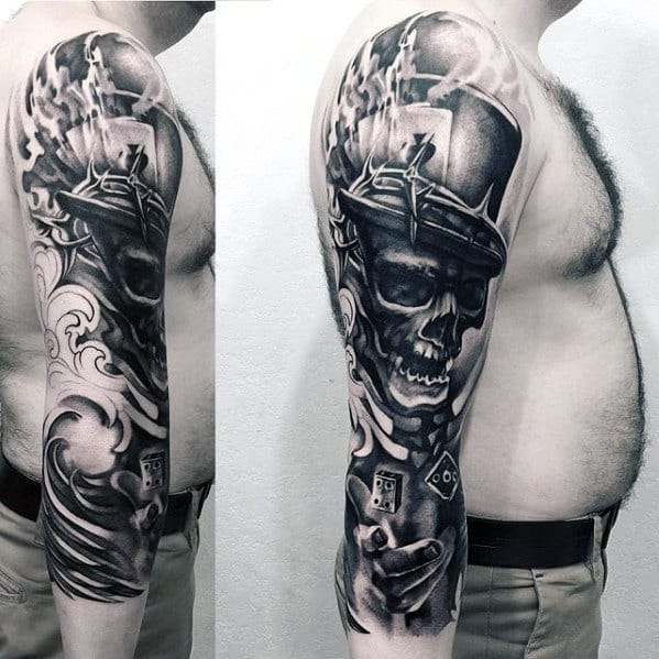 Skull Rolling Dice 3d Half Sleeve Tattoos For Men