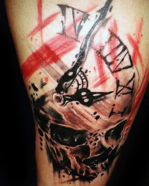 Skull Roman Numeral Clock Trash Polka Tattoo On Males Arm