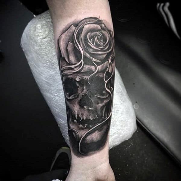 Skull Rose Forearm Sleeve Tattoos For Guys