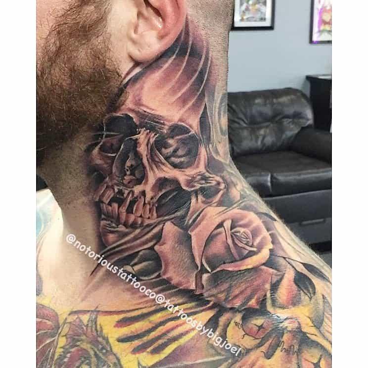 skull rose neck tattoos notorioustattooco
