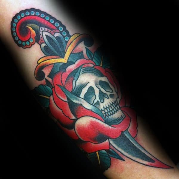 Skull Rose With Dagger Guys Traditional Tattoo Design Inspiration On Forearms
