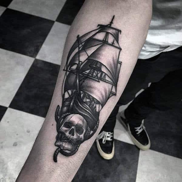 Skull Sailboat Mens Tattoo On Forearm