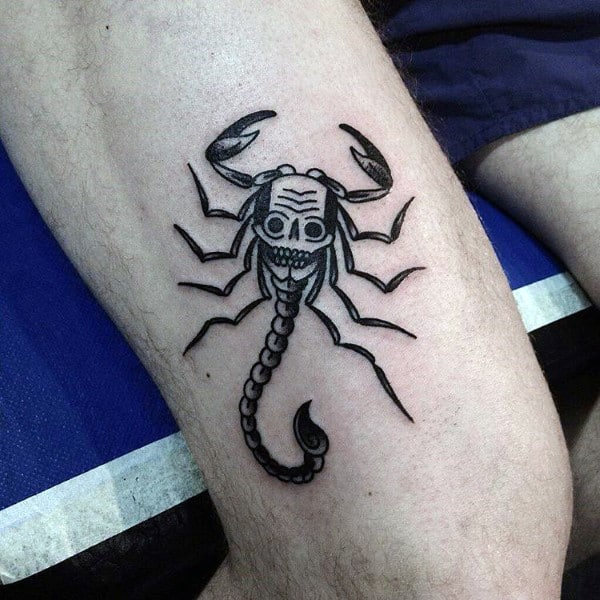 Skull Scorpio Mens Thigh Tattoo Ideas