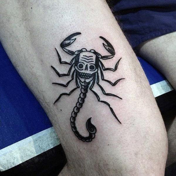 Skull Scorpio Mens Thigh Tattoo Ideas