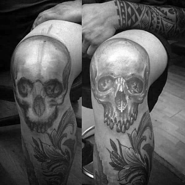 Skull Shaded Grey And Black Knee Mens Tattoos
