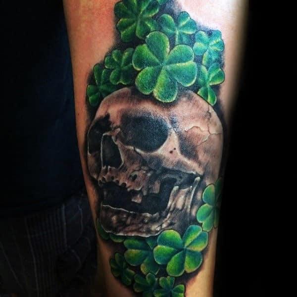 Skull Shamrock Tattoo Quarter Sleeve Tattoo For Guys