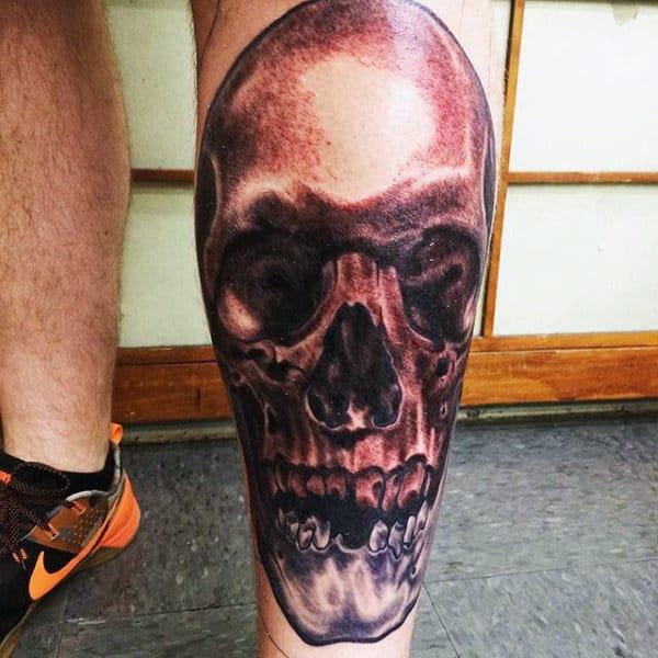 Skull Shin Tattoos For Men