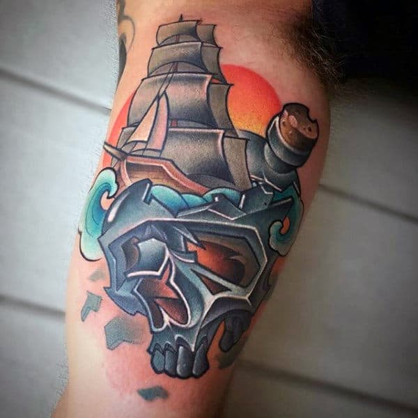 New Tattoo Designs For Men: 60 Ship In A Bottle Tattoo Designs For Men