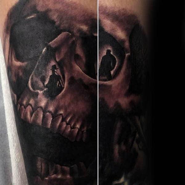 Skull Silhouette Mens Forearm Tattoos