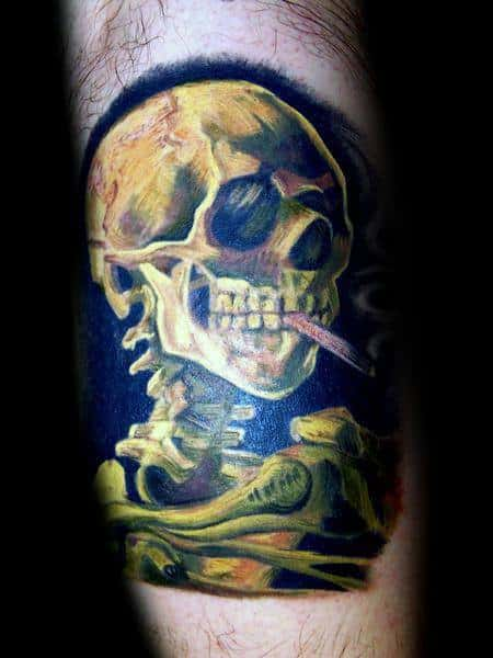 Skull Skeleton Guys Vincent Van Gogh Leg Tattoo